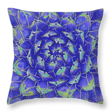 Throw Pillow featuring the digital art Succulent - Blue by Jane Schnetlage
