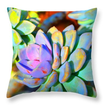 Succulent Color - Botanical Art By Sharon Cummings Throw Pillow