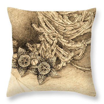 Succulent Flowers Throw Pillow by Judith Chantler