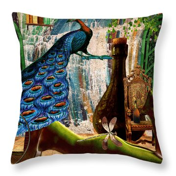 Throw Pillow featuring the painting Suck My Peacock by Ally  White