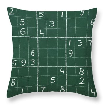 Sudoku On A Chalkboard Throw Pillow by Chevy Fleet