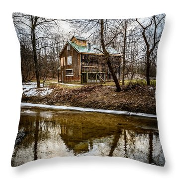 Sugar Shack In Deep River County Park Throw Pillow by Paul Velgos