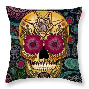 Sugar Skull Paisley Garden - Copyrighted Throw Pillow