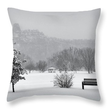 Sugarloaf Snowstorm Throw Pillow