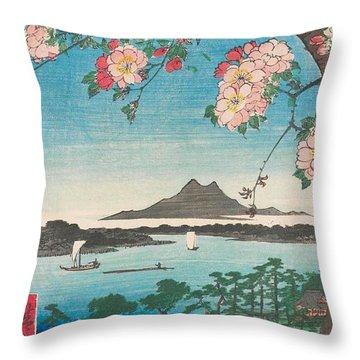 Suijin Shrine And Massaki On The Sumida River Throw Pillow