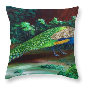 Suitors - Strolling Throw Pillow by Katherine Young-Beck