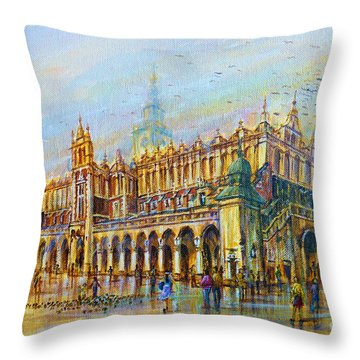 Sukiennice In Cracow Throw Pillow