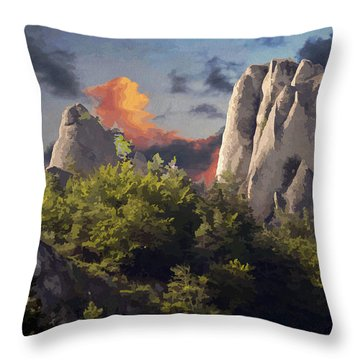 Sulov Mountains Throw Pillow by Leo Symon