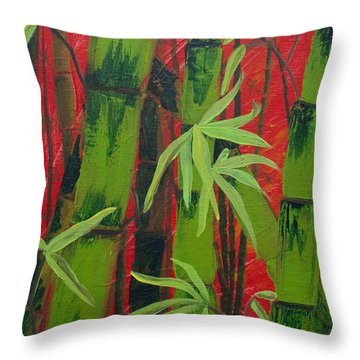 Sultry Bamboo Forest Acrylic Painting Throw Pillow