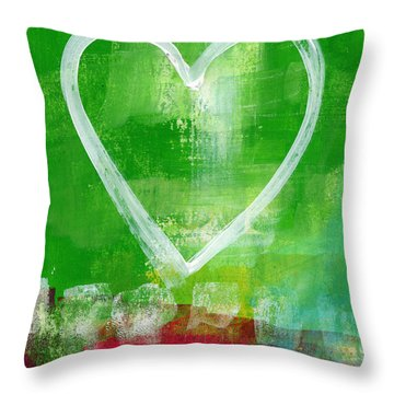 Sumer Love- Abstract Heart Painting Throw Pillow