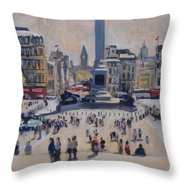 Throw Pillow featuring the painting Sumer On Trafalgar Square by Nop Briex
