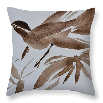 Sumi Bird Throw Pillow