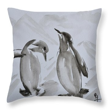 Sumi-e Penguin Dance Throw Pillow