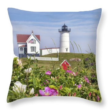 Summer At Nubble Light Throw Pillow