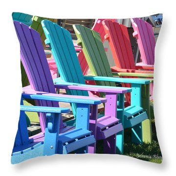 Throw Pillow featuring the photograph Summer Beach Chairs by Jeannie Rhode