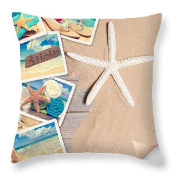 Summer Beach Postcards Throw Pillow by Amanda Elwell