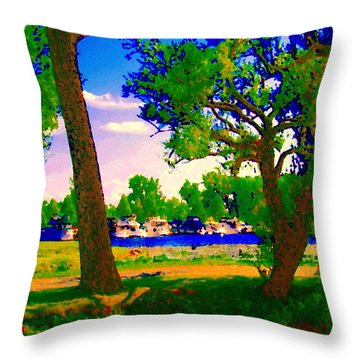 Summer Boats Moored Along Tree Lined Lachine Canal Quebec Landscapes  Montreal Art Carole Spandau Throw Pillow by Carole Spandau