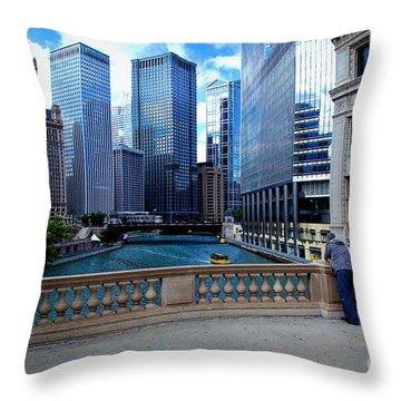Summer Breeze On The Chicago River - Color Throw Pillow