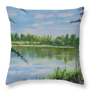 Throw Pillow featuring the painting Summer By The River by Martin Howard