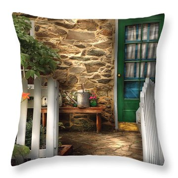 Summer - Cottage - Cottage Side Door Throw Pillow by Mike Savad