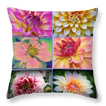 Summer Time Dahlias Throw Pillow