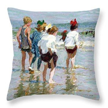 Summer Day At Brighton Beach Throw Pillow by Edward Potthast