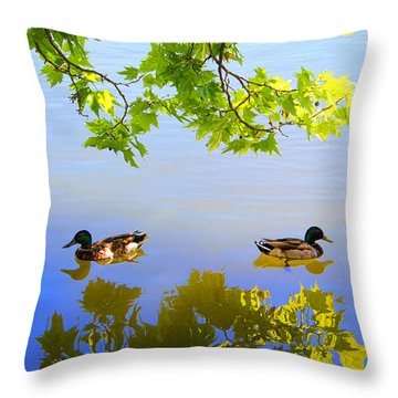 Summer Day On The Lake Throw Pillow by Mariola Bitner