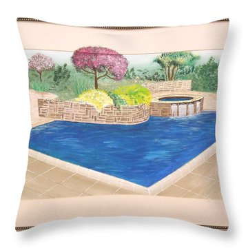 Throw Pillow featuring the painting Summer Days by Ron Davidson