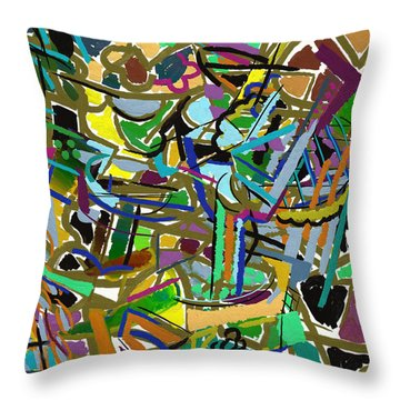 Throw Pillow featuring the digital art Summer Divertimento In Green by Clyde Semler