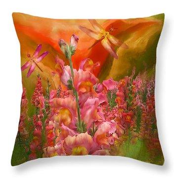 Summer Dragons - Square Throw Pillow by Carol Cavalaris