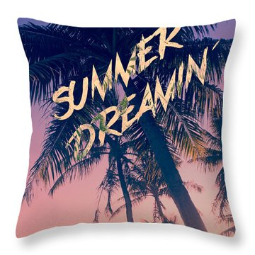Summer Dreamin Tropical Island Palm Trees Sunrise Throw Pillow