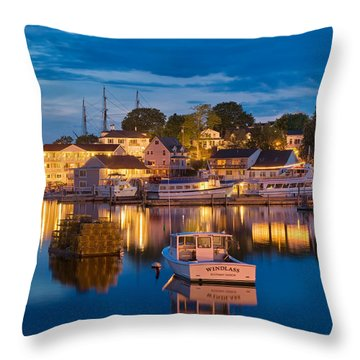 Summer Evening On Boothbay Harbor Throw Pillow