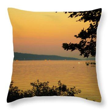 Summer Evening On Cayuga Lake Throw Pillow
