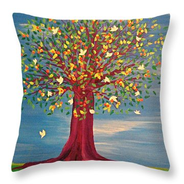 Throw Pillow featuring the painting Summer Fantasy Tree by First Star Art