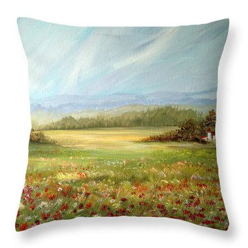 Summer Field At The Farm Throw Pillow