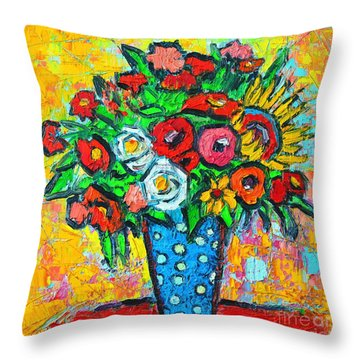 Summer Floral Bouquet - Sunflowers Poppies And Roses Throw Pillow by Ana Maria Edulescu