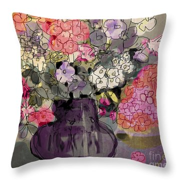 Summer Floral Throw Pillow by Linde Townsend