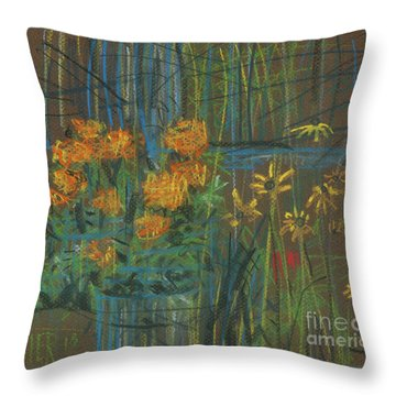 Throw Pillow featuring the painting Summer Flowers by Donald Maier