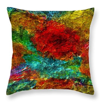 Throw Pillow featuring the painting Summer Garden by Carolyn Repka