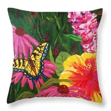 Throw Pillow featuring the painting Summer Garden by Ellen Levinson