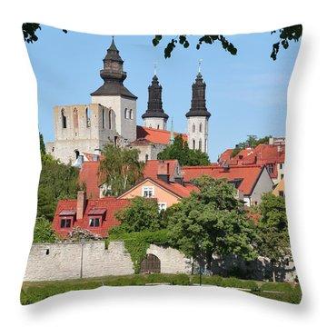 Summer Green Medieval Town Throw Pillow