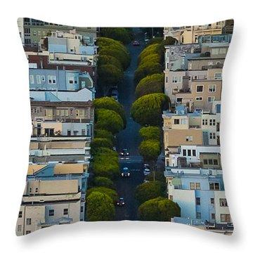 Summer Green On Lombard Street Throw Pillow