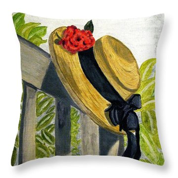 Summer Hat Throw Pillow