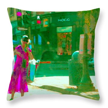 Summer Heatwave Too Hot To Walk Lady Hailing Taxi Cab At Hogg Hardware Rue Sherbrooke Carole Spandau Throw Pillow by Carole Spandau