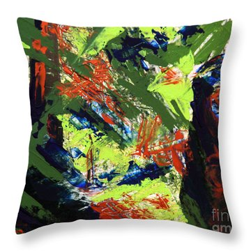 Throw Pillow featuring the painting Summer Hiking Trail 1  by Walter Fahmy