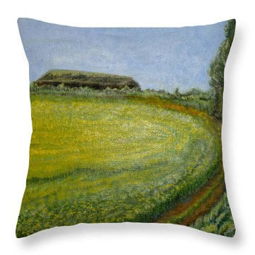 Summer In Canola Field Throw Pillow by Felicia Tica