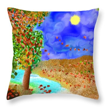 Throw Pillow featuring the digital art Summer In Mountains. by Dr Loifer Vladimir