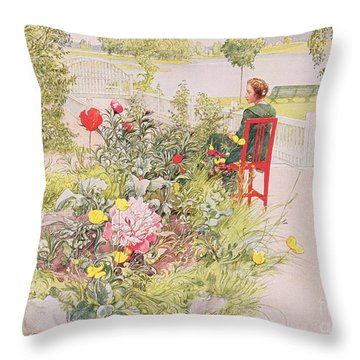 Summer In Sundborn Throw Pillow by Carl Larsson