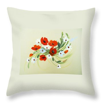 Summer Joy Bouquet Throw Pillow by Dorothy Maier