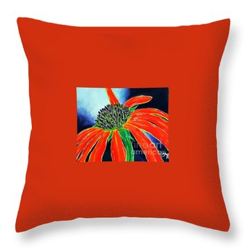 Throw Pillow featuring the painting Summer Kissed Cone Flower by Jackie Carpenter
